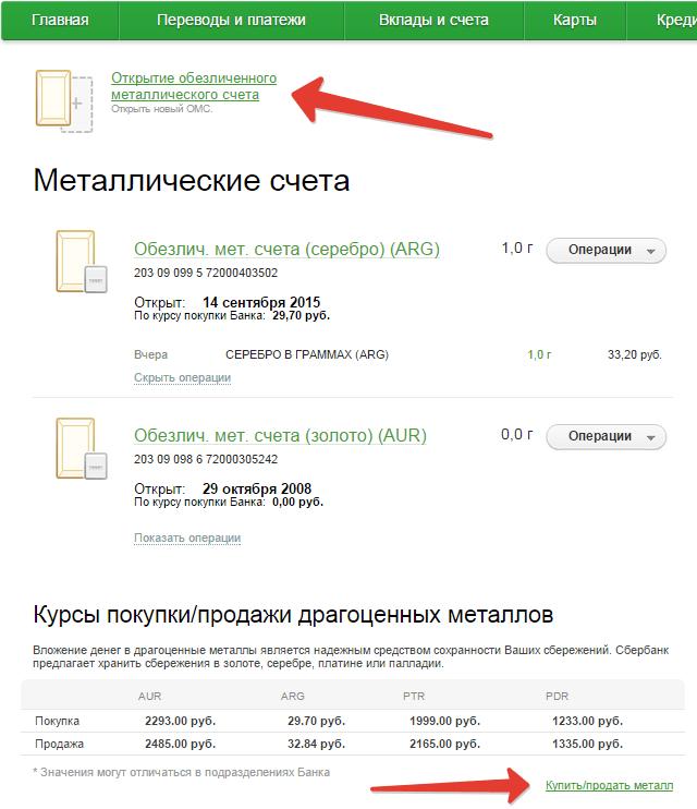 металлические счета открытие