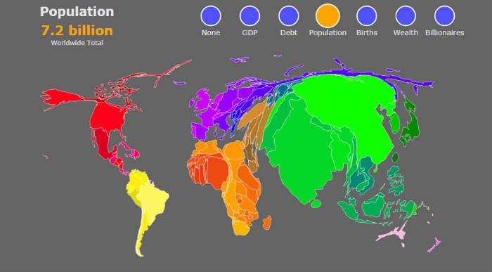 карта мира с населением стран