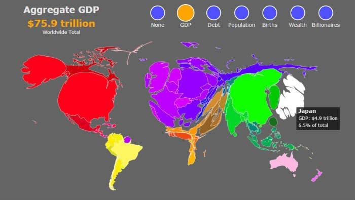 карта мира с ВВП