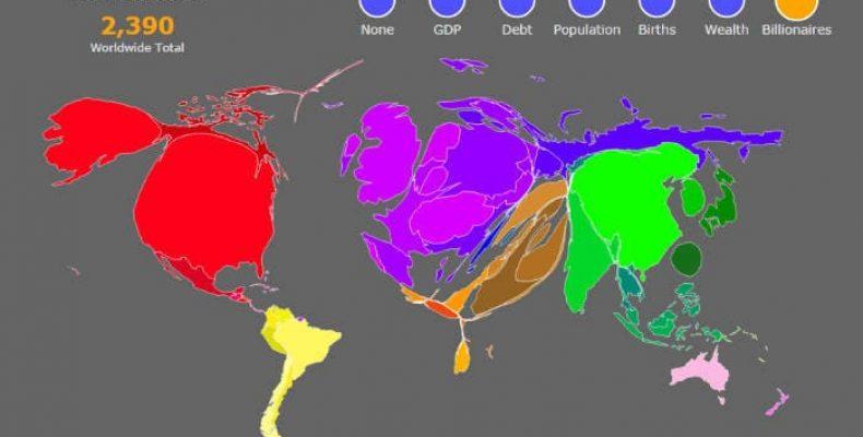 Чем больше ВВП, тем больше страна — необычная карта мира