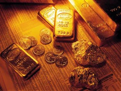 много золота, слитки