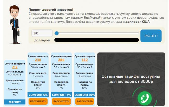 руспранафинанс - доход