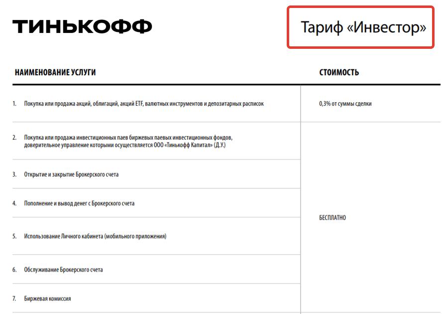 Тариф Инвестор - тинькофф